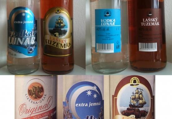 Boven de originele etiketten van het wodkamerk Lunar en tuzemák, een goedkope soort rum, onder de vervalste.