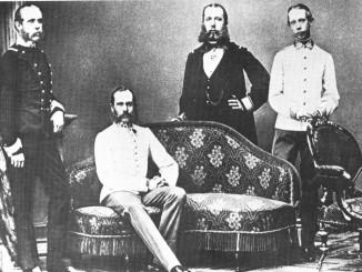 Familieportret rond 1860: Aartshertog Karel lodewijk keizer Frans Jozef aartshertog Ferdinand Max en aartsherog Lodewijk Victor http://worldroots.com