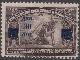 Een postzegel van het Koninkrijk van Serven, Kroaten en Slovenen uit 1922