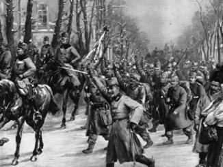 Impressie van de Habsburgse intocht in Belgrado in december 1914