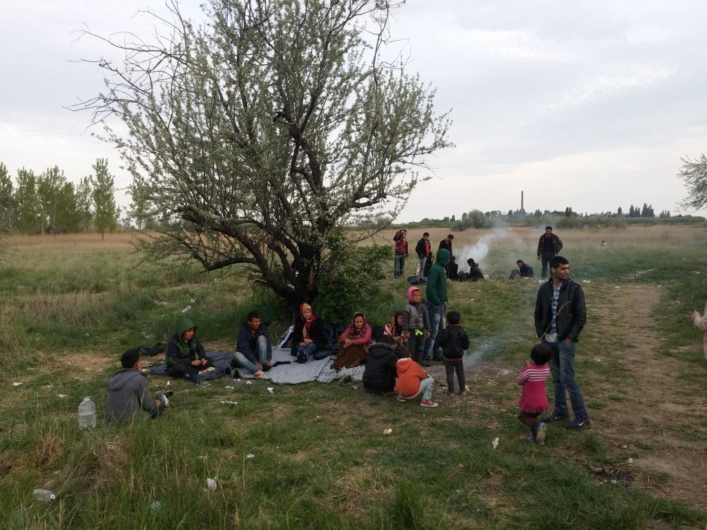 Migranten wacht bij de Servisch-Hongaarse grens op een kans om over te steken, mei 2015